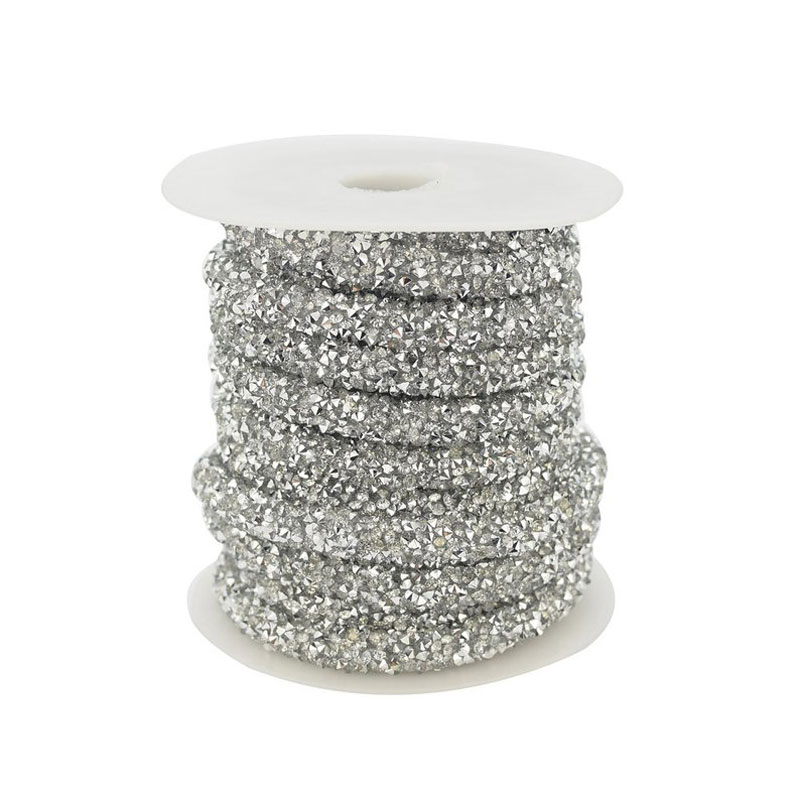 6mm Wide 4mm Hole Lovely Bead Blue Stardust Crystal Cord 5 meters Per Roll